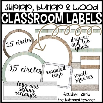 Burlap and Shiplap Classroom Labels Fully Editable