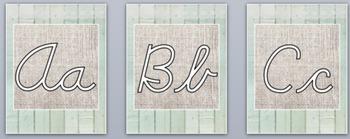 Burlap and Shiplap Cursive Alphabet ZB and DN