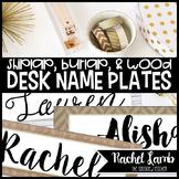 Burlap and Shiplap Desk Name Plates, Labels {Farmhouse Chic}