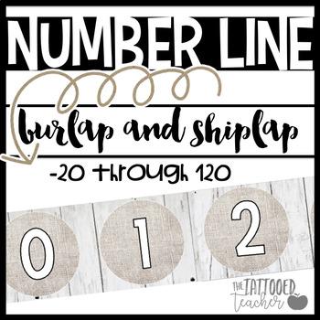 Burlap and Shiplap Number Line -10 through 120 {farmhouse chic}