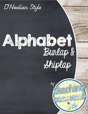 Burlap and Shiplap Themed D'Nealian Alphabet (Full Page)