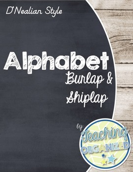 Burlap and Shiplap Themed D'Nealian Alphabet (Full Page)
