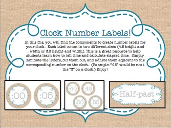Burlap and Teal Clock Labels - {Two Sizes}