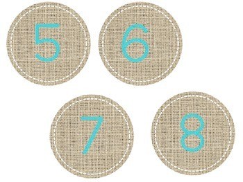 Burlap and Turquoise Numbers! Perfect for Clothes Pins!