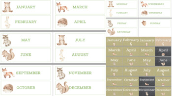 Burlap and Woodland: Calendar Charts
