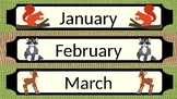 Burlap and Woodland Critters Month Labels