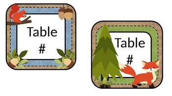 Burlap and Woodland Critters Table Labels