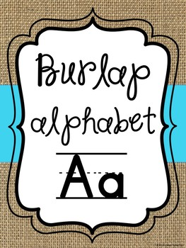 Burlap and blue alphabet