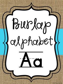 Burlap and blue alphabet