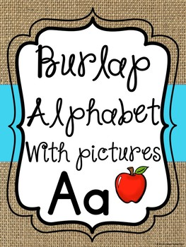 Burlap and blue alphabet WITH pictures