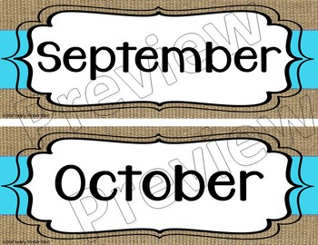 Burlap and blue calendar months