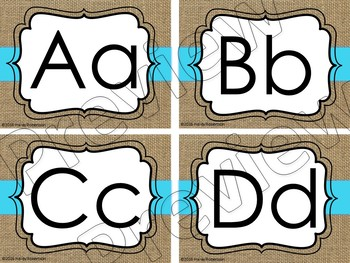 Burlap and blue word wall headers
