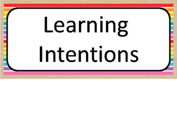 Burlap learning Intentions