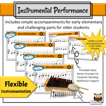 Hanukkah - Burn Little Candles, a Song to Read, Sing, & Play, Simple Orff Arr.