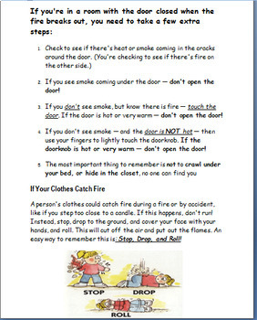 Burn and Scald Prevention and Safety, lesson, 2 activities, color pages