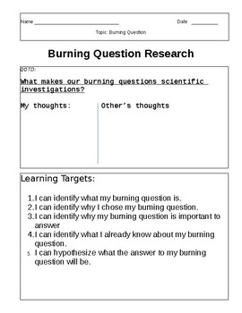 Research Question Brainstorm