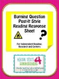 Questioning Reading Workshop Response Sheet