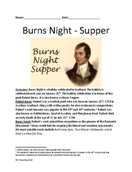 Burns Night Supper - Robert Burns January 25th holiday - lesson article