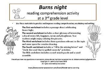Burns Night reading activity for 3rd grade