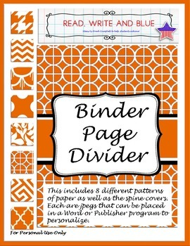 Burnt Orange Binder Cover or Page Dividers