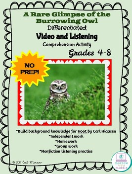 Burrowing Owls NO PREP Video Comprehension and HOOT Nonfiction Background 4-8