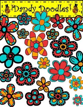 Burst of Blooms (Blue, Red, Orange) Clip Art by Dandy Doodles