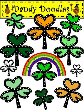Burst of Shamrocks FREEBIE Clip Art by Dandy Doodles
