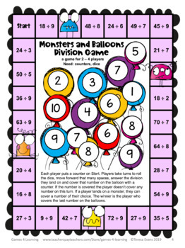 Monsters Division Games Freebie for Fact Fluency: Division Math Board Games