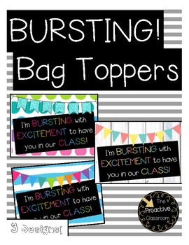 Bursting With Excitement Treat Bag Topper