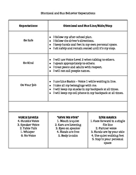 Bus Behavior Expectations and Consequences Reflection sheet