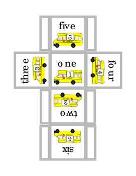 Bus Box Dice Games Addition Subtraction Up to 9 Math Numbers Cut Out Fold 3pages