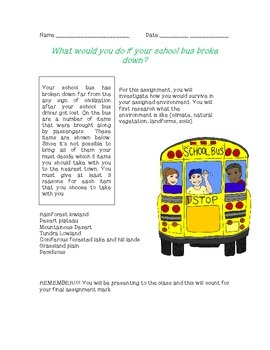 Bus Breakdown - Gr. 7 Geography/Social Studies Interactions in the Environment