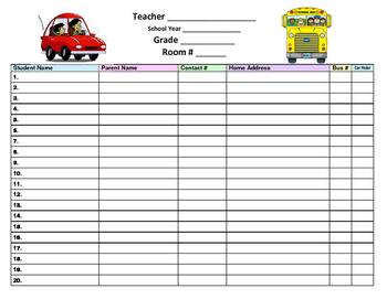 Bus & Car Rider Log-Sheet