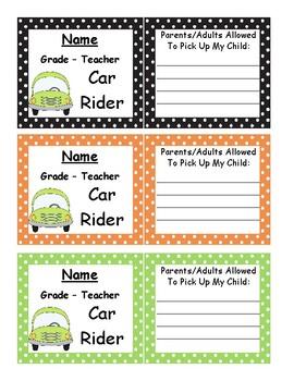 Bus/Car book bag tags