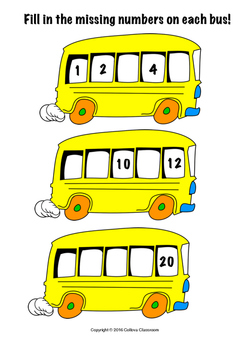 Bus Counting (Number recognition, number sequencing and writing numbers)