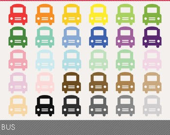 Bus Digital Clipart, Bus Graphics, Bus PNG, Rainbow Bus Digital Files