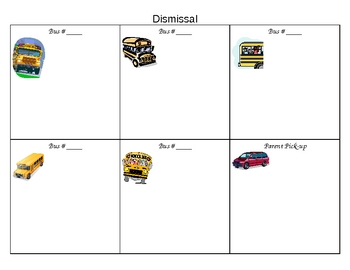 Bus Dismissal Chart