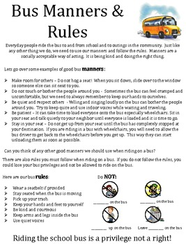 Monster image within printable school bus rules