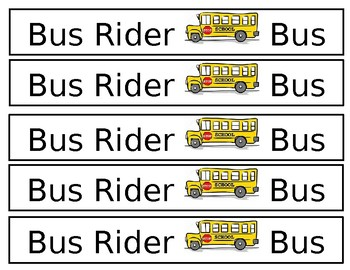 Bus Rider Backpack Labels