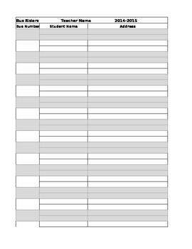 Bus Rider List (editable)