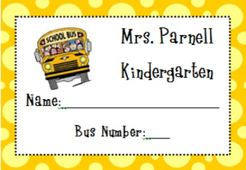 Bus Rider Tags- Editable