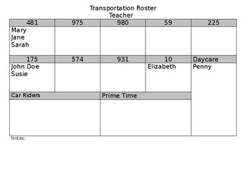 Bus Roster Back to School