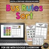 Bus Rules Sort Worksheet Activity
