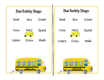 Bus Safety Bingo