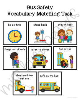 Bus Safety Vocabulary Folder Game for Special Education