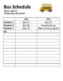 Bus Schedule- Editable