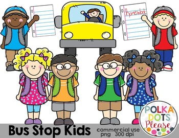 Bus Stop Kids {Graphics for Commercial Use}