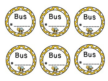 Bus Tags ~Bee Themed~