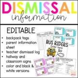 Editable Dismissal Tags   Bus Tags   Backpack Tags