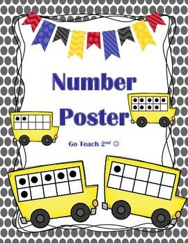 Ten Frame Posters - Black polka dots 0-20